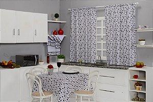 Kit para Cozinha com Toalha de Mesa, Cortina e Kit Semaninha