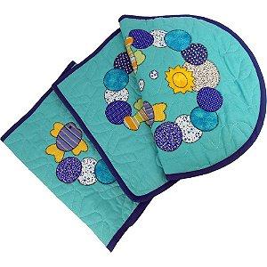 Jogo de Tapetes para Banheiro de Patch Aplique Bolhas e Peixes