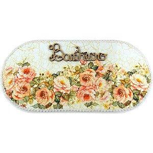 Plaquinha para Banheiro de MDF Floral