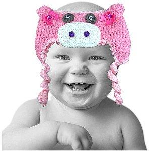 Touca de Lã de Crochê Aberta Modelo Pig