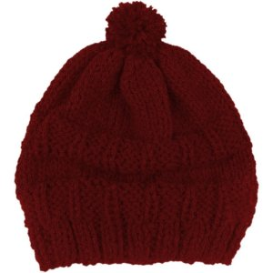 Touca de Lã em Tricô Pompom