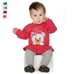 Conjunto Básico de Bebê Calça de Cotton e Blusa de Moletom Menina