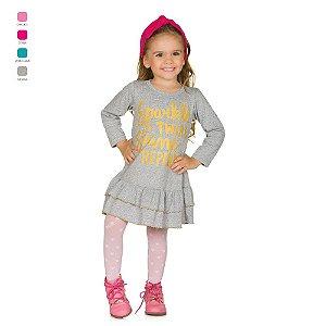 Vestido Infantil Manga Longa de Meia Malha com Estampa
