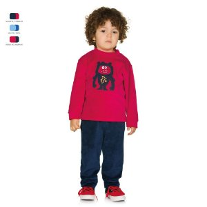 Conjunto Infantil Básico de Plush com Bordado Menino