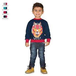 Blusão Infantil Básico de Moletom com Estampa Menino