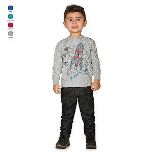 Camiseta Infantil de Meia Malha Manga Longa com Estampa Menino