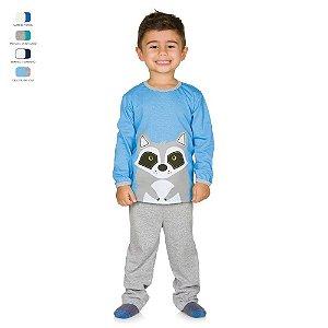Pijama Infantil Longo de Inverno em Meia Malha Raposa Menino