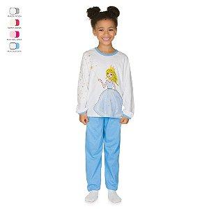 Pijama Infantil Longo de Inverno em Meia Malha Fada Menina