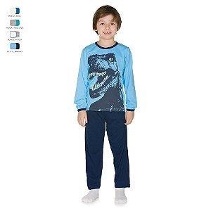 Pijama Infantil Longo de Inverno em Meia Malha Dino Menino