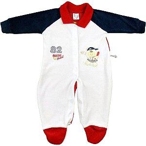 Macacão Longo de Plush Bebê Menino Gola Retilínea