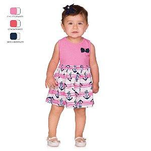 Vestido de Bebê Curto Verão Regata com Laço e Estampa