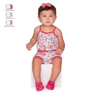 Macacão de Bebê Curto Verão com Alça e Estampa