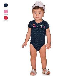Body de Bebê Curto Verão com Peitilho e Aplique