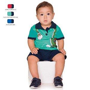 Conjunto de Bebê Menino Verão Camiseta Polo com Short