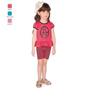 Conjunto Infantil Menina Camiseta Meia Manga e Short Verão