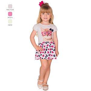 Vestido Infantil Menina Meia Manga com Estampa Verão