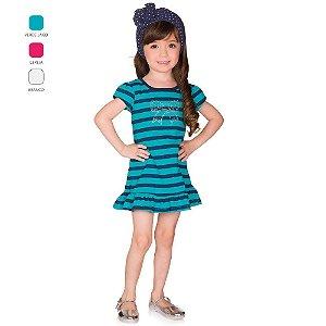 Vestido Infantil Menina Meia Manga Listrado Verão