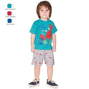 Conjunto Infantil Menino Camiseta Meia Manga e Short Verão