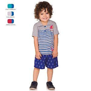 Conjunto Infantil Menino Camiseta Polo e Short Verão
