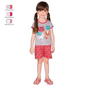 Pijama Infantil Menina Camiseta Meia Manga e Short Verão