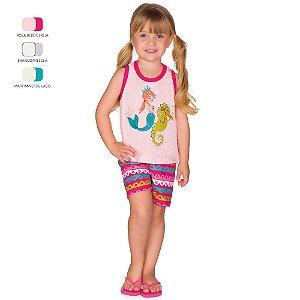 Pijama Infantil Menina Regata e Short Verão