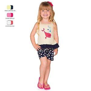 Pijama Infantil Menina Camiseta com Alça e Short Verão