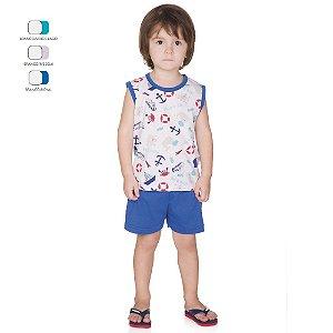 Pijama Infantil Menino Regata Estampada e Short Verão