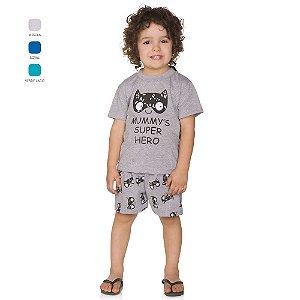 Pijama Infantil Menino Camiseta com Capa e Short Verão