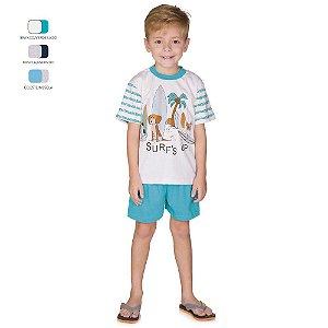 Pijama Menino Camiseta Meia Manga e Short Verão