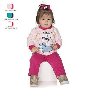 Conjunto de Bebê Menina Longo de Inverno Básico de Moletom