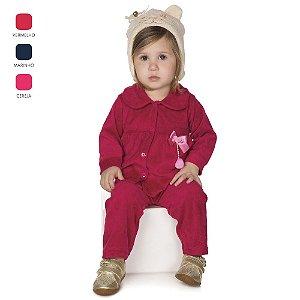 Conjunto de Bebê Menina Longo de Inverno com Botões e Gola
