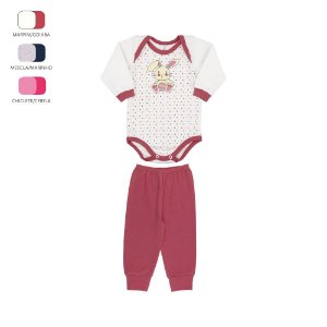 Conjunto Body e Calça de Bebê Menina Longo de Inverno Coelhinho