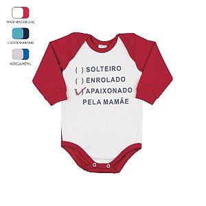 Body Manga Longa de Bebê Menino de Inverno com Frase
