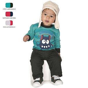 Conjunto de Bebê Menino Longo de Inverno Básico de Moletom