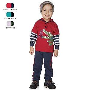 Conjunto Infantil de Menino Longo de Inverno com Botão e Capuz