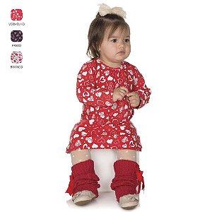 Vestido de Bebê de Inverno Manga Longa com Estampa