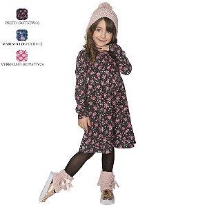 Vestido de Inverno Infantil Manga Longa Estampado