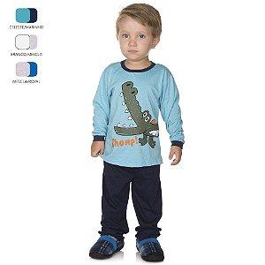 Pijama Infantil de Menino Longo de Inverno Crocodilo