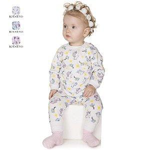 Pijama de Bebê Menina Longo de Inverno Estampado