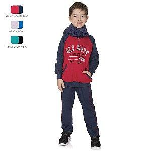 Conjunto de Inverno Longo Infantil de Menino com Botão Capuz e Bolso