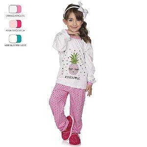 Pijama Longo de Inverno Infantil de Menina Abacaxi com Poá