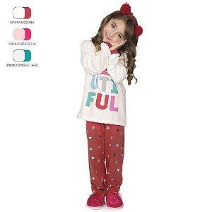 Pijama Longo de Inverno Infantil de Menina Beautiful