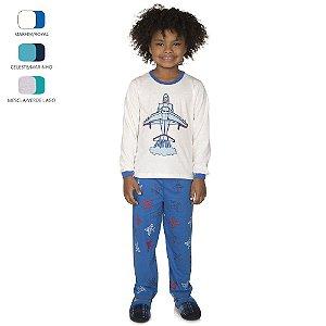 Pijama Longo de Inverno Infantil de Menino Avião
