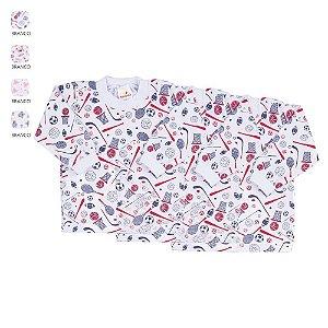 Kit 3 Camisetas Estampadas Manga Longa de Bebê Unissex com Botão