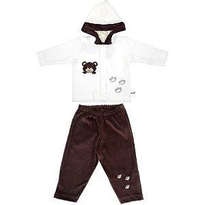 Conjunto Longo para Bebê Menino de Plush com Capuz