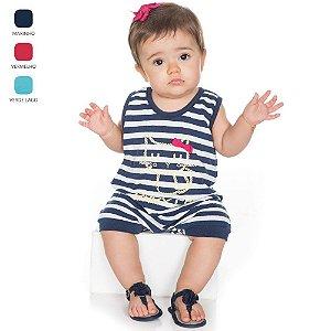 Macacão Regata de Meia Malha para Bebê Menina (Verão)