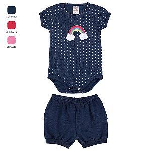 Conjunto Body e Short de Cotton para Bebê Menina (Verão)