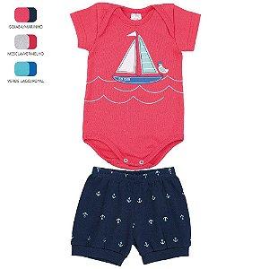 Conjunto Body e Short de Ribana para Bebê Menino (Verão)