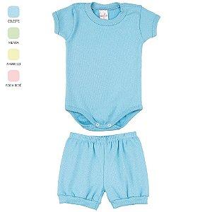 Conjunto Body e Short Canelado para Bebê Unissex (Verão)