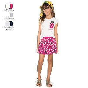Conjunto Infantil para Menina Camiseta e Saia (Verão)